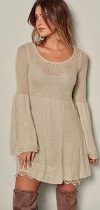 Venus Oatmeal Bell Sleeve Boho Lace Sweater Dress